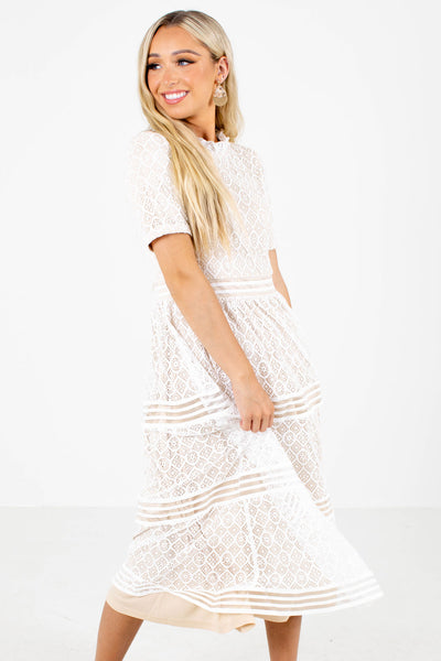 Women's White Special Occasion Boutique Midi Dress