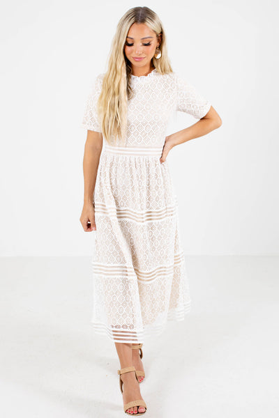 White Lace Overlay Boutique Midi Dresses for Women
