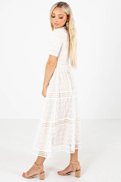 White Ruffled Neckline Boutique Midi Dresses for Women