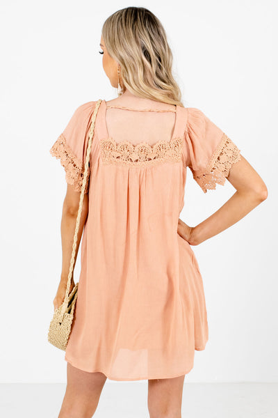 Women's Peach Pink Crochet Lace Detailed Boutique Mini Dress