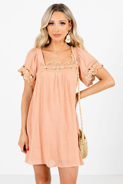 Peach Pink Square Neckline Boutique Mini Dresses for Women