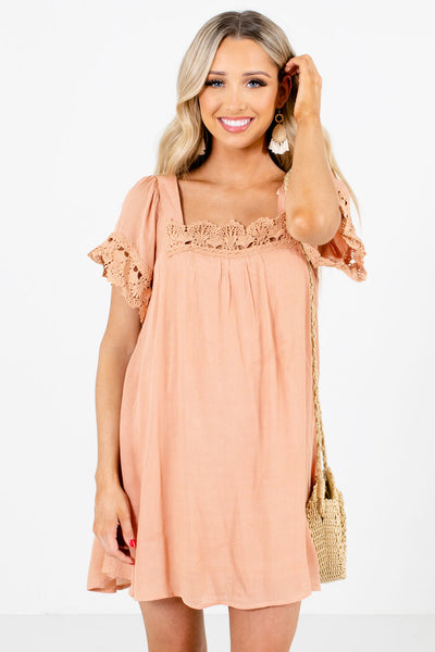Women's Peach Pink Flowy Silhouette Boutique Mini Dress