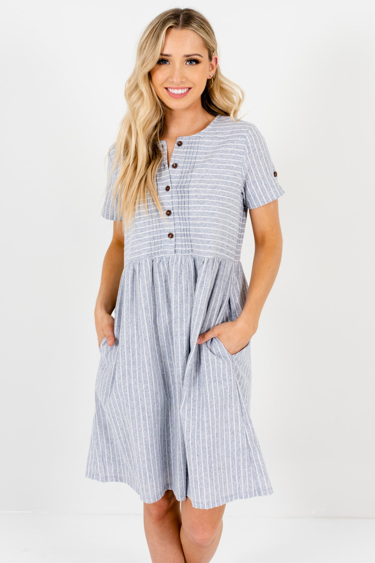 Heather Blue Gray Striped Button-Up Mini Dresses for Women