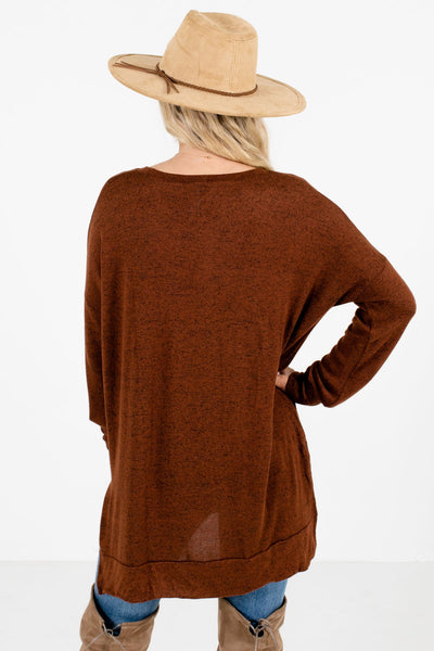 Women's Brown Split High-Low Hem Boutique Top