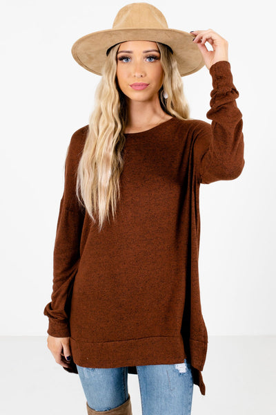 Brown High-Quality Soft Material Boutique Tops for Women