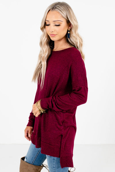 Burgundy Round Neckline Boutique Tops for Women