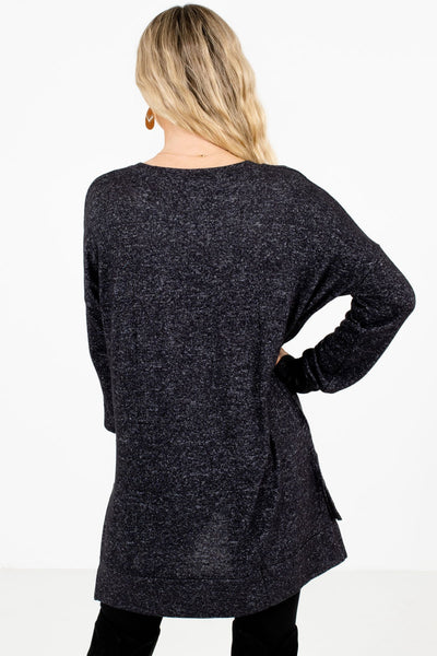 Women's Charcoal Gray Split High-Low Hem Boutique Top