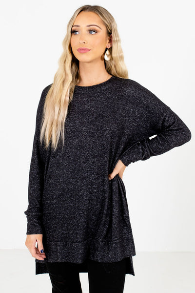 Charcoal Gray High-Quality Soft Material Boutique Tops for Women