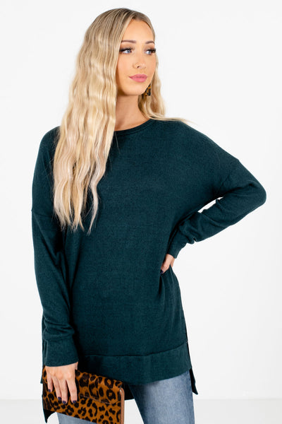 Teal Green High-Quality Soft Material Boutique Tops for Women