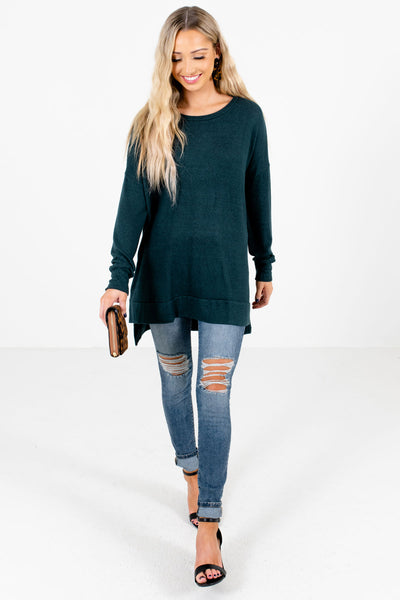Teal Green Cute and Comfortable Boutique Tops for Women