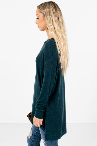 Teal Green Round Neckline Boutique Tops for Women
