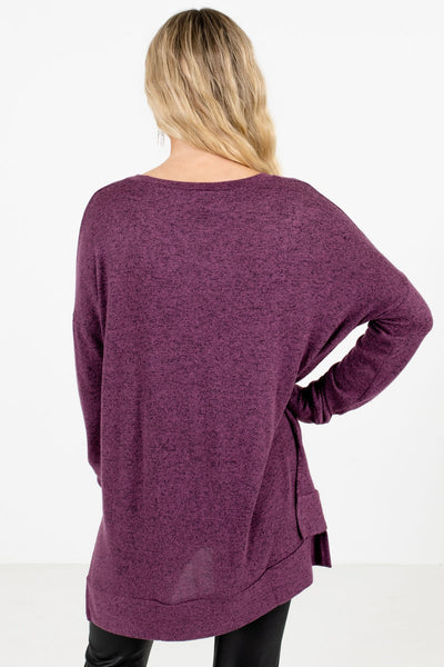 Women's Purple Split High-Low Hem Boutique Top