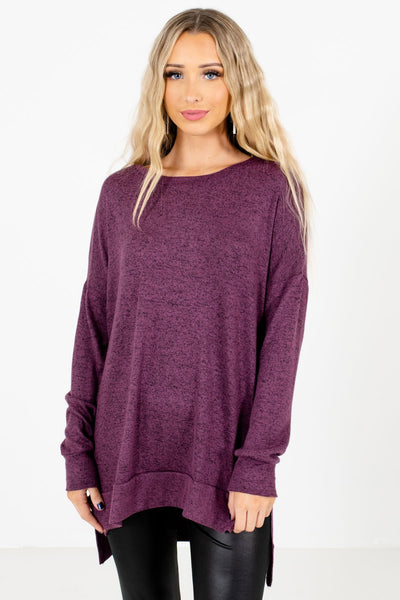 Purple High-Quality Soft Material Boutique Tops for Women
