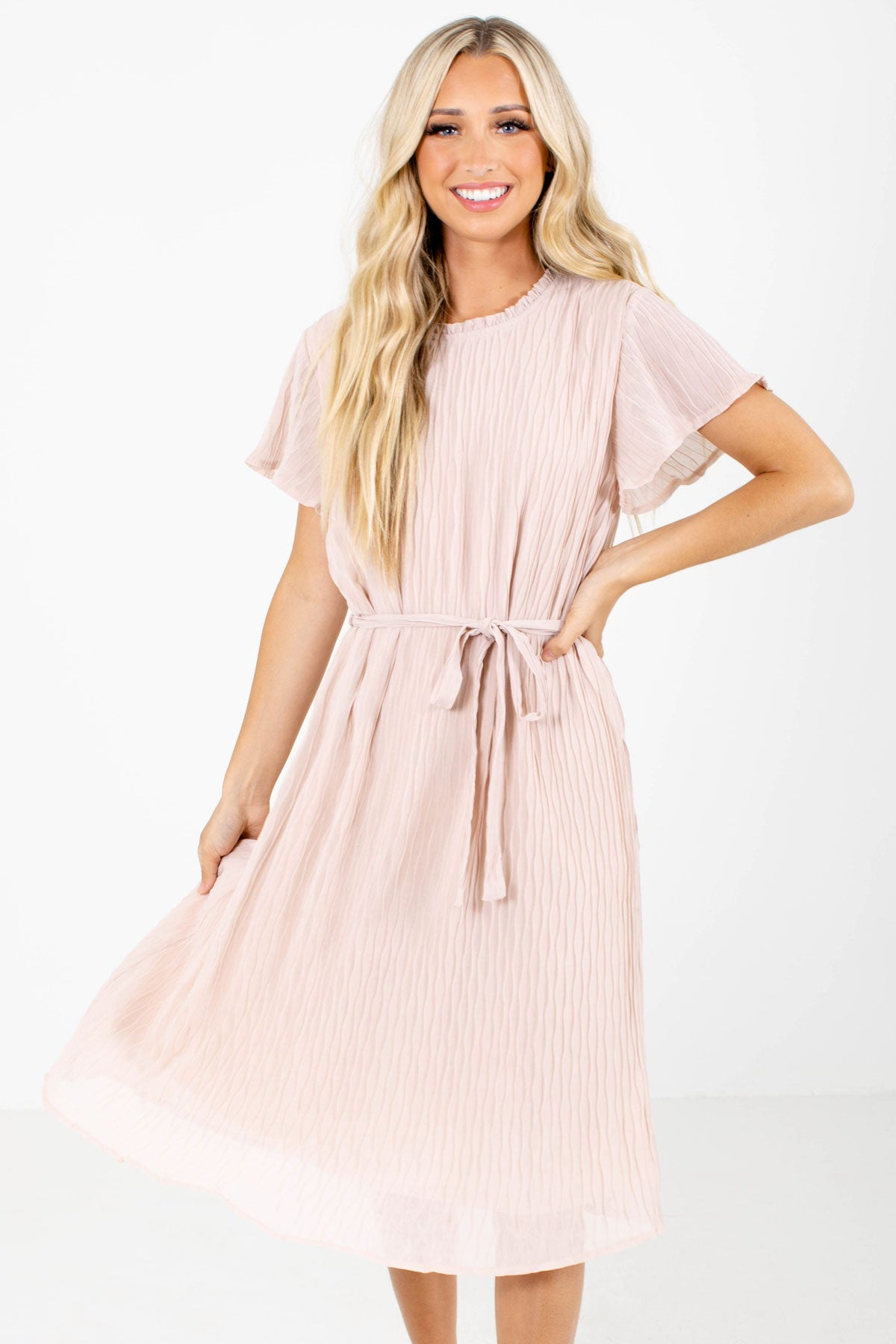 Pink High-Quality Textured Material Boutique Knee-Length Dresses for Women