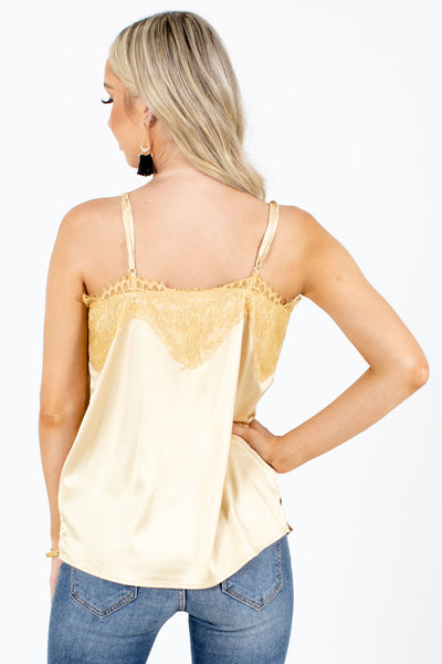Women's Yellow Adjustable Spaghetti Strap Boutique Cami