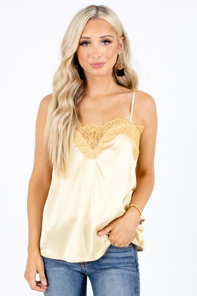 Yellow Lace Detailed Boutique Camis for Women