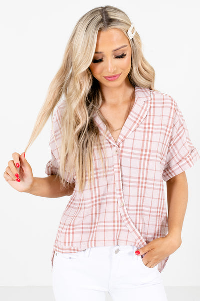 Pink Plaid Patterned Boutique Tops for Women