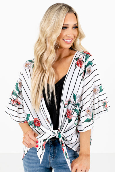 White Stripe Patterned Boutique Kimonos for Women