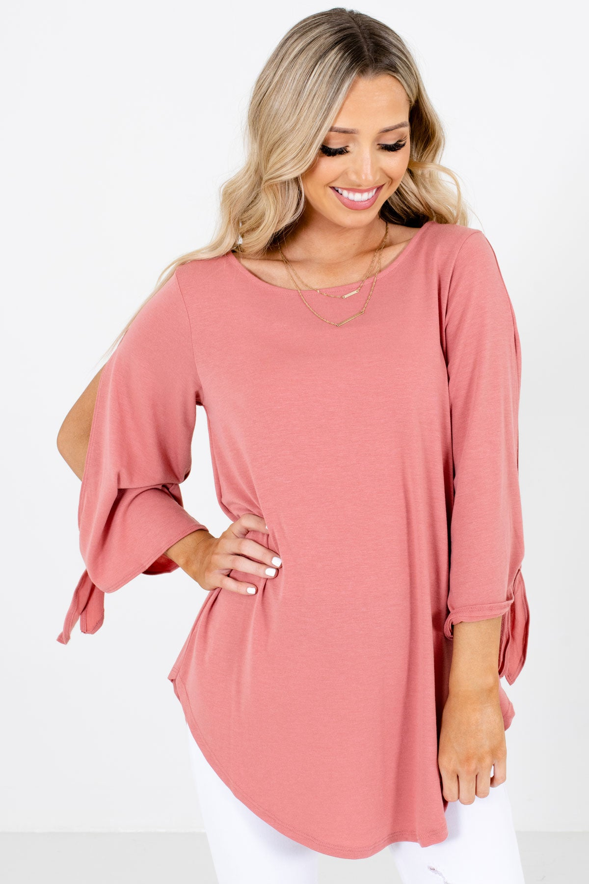 Pink Split Sleeve Boutique Blouses for Women
