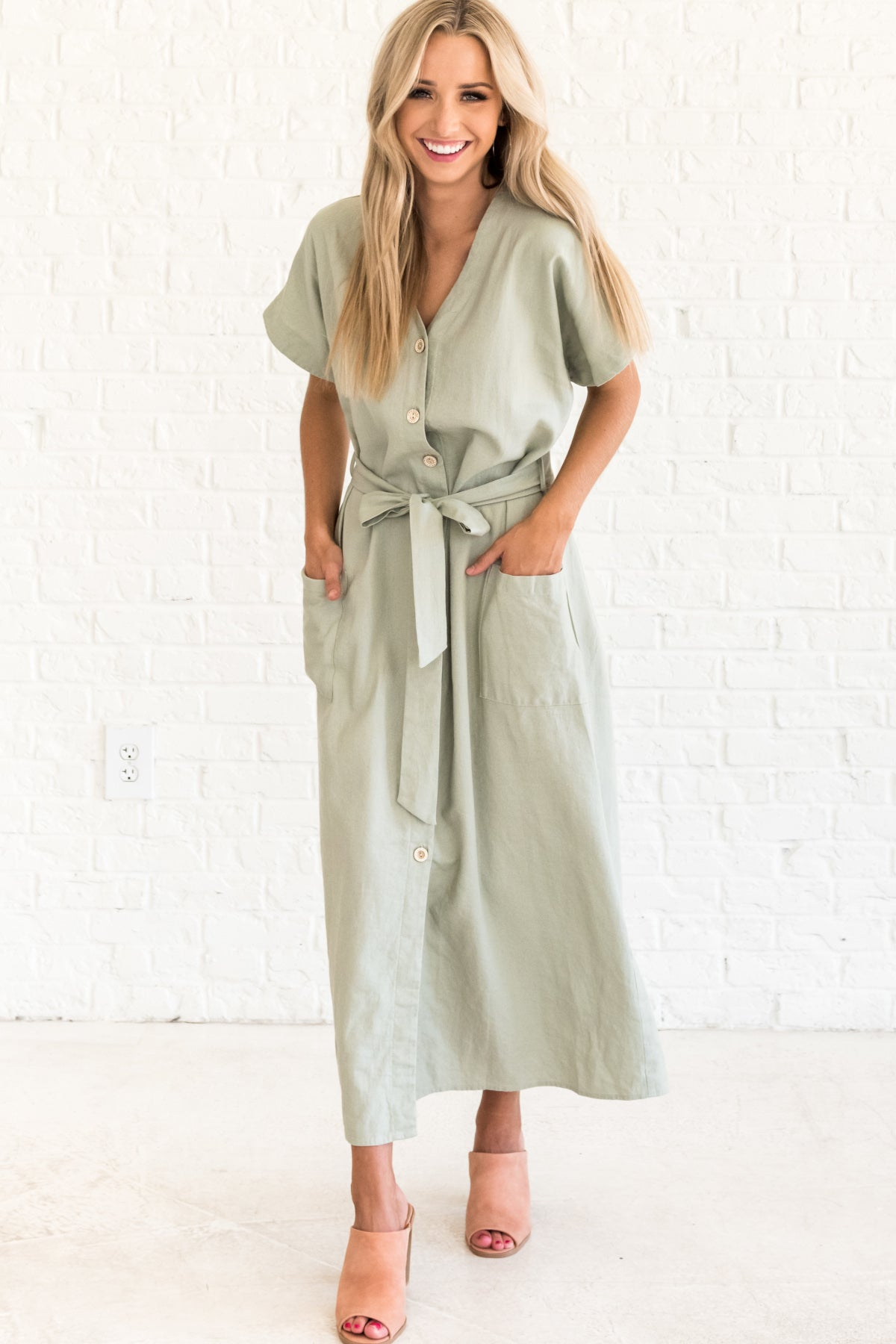 Sage Green Dresses with Pockets