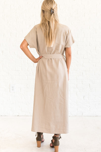 Taupe Brown Casual Maxi Dresses