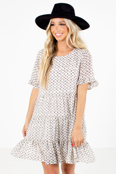 Women's Cream Cute and Comfortable Boutique Dress