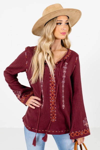 Women's Purple Bohemian Style Boutique Tops