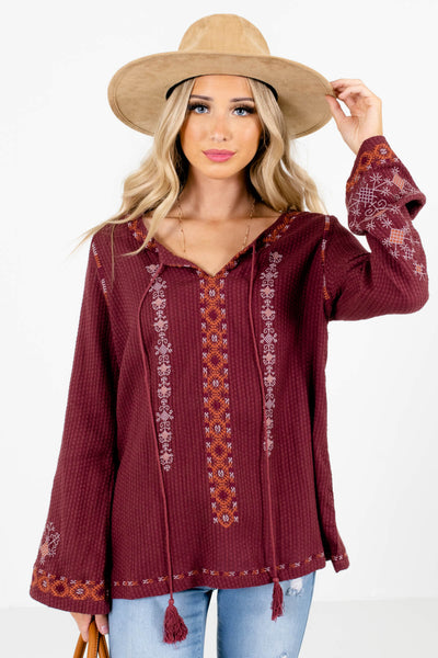 Purple Multicolored Embroidered Accented Boutique Tops for Women