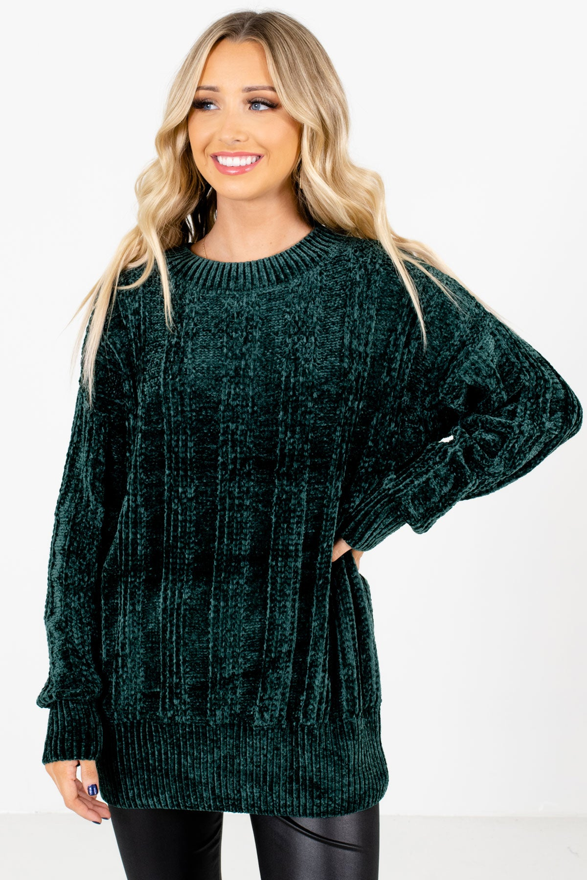 Green High-Quality Knit Material Boutique Sweaters for Women