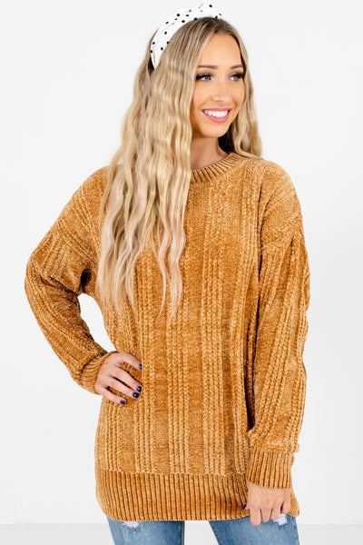 Women's Mustard Super Soft Boutique Chenille Sweater