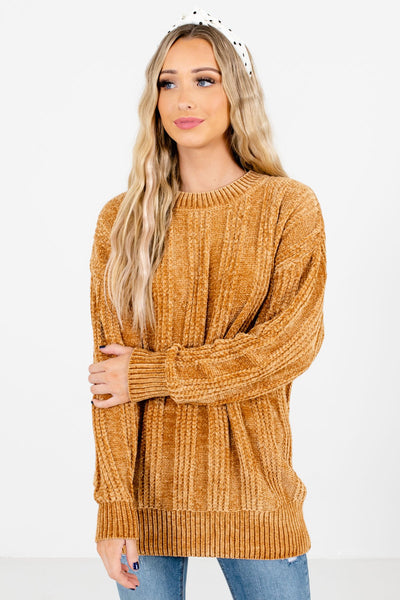 Mustard High-Quality Knit Material Boutique Sweaters for Women