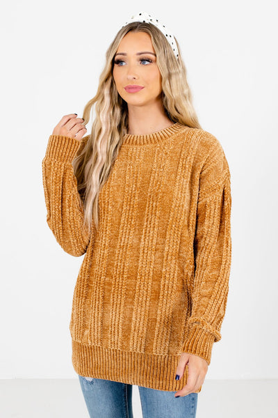 Women's Mustard Long Sleeve Boutique Sweater