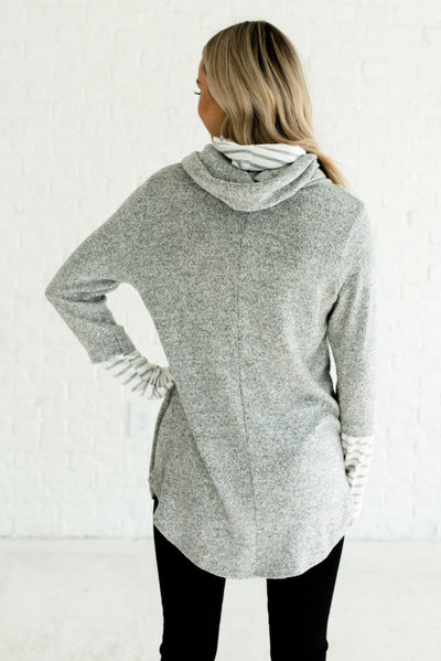 Gray and White Striped Women's Funnel Neck Boutique Hoodie
