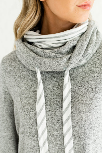 Gray and White Striped Boutique Hoodie with Drawstrings for Women