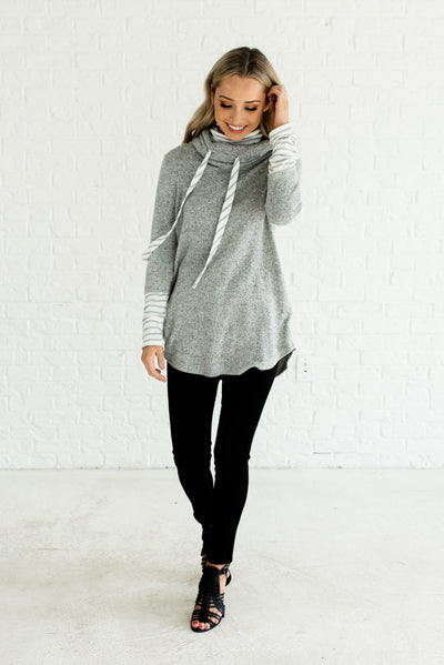 Gray and White Striped Soft and Stretchy Boutique Hoodies for Women