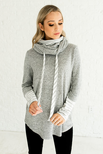 Gray and White Striped Boutique Hoodies for Women