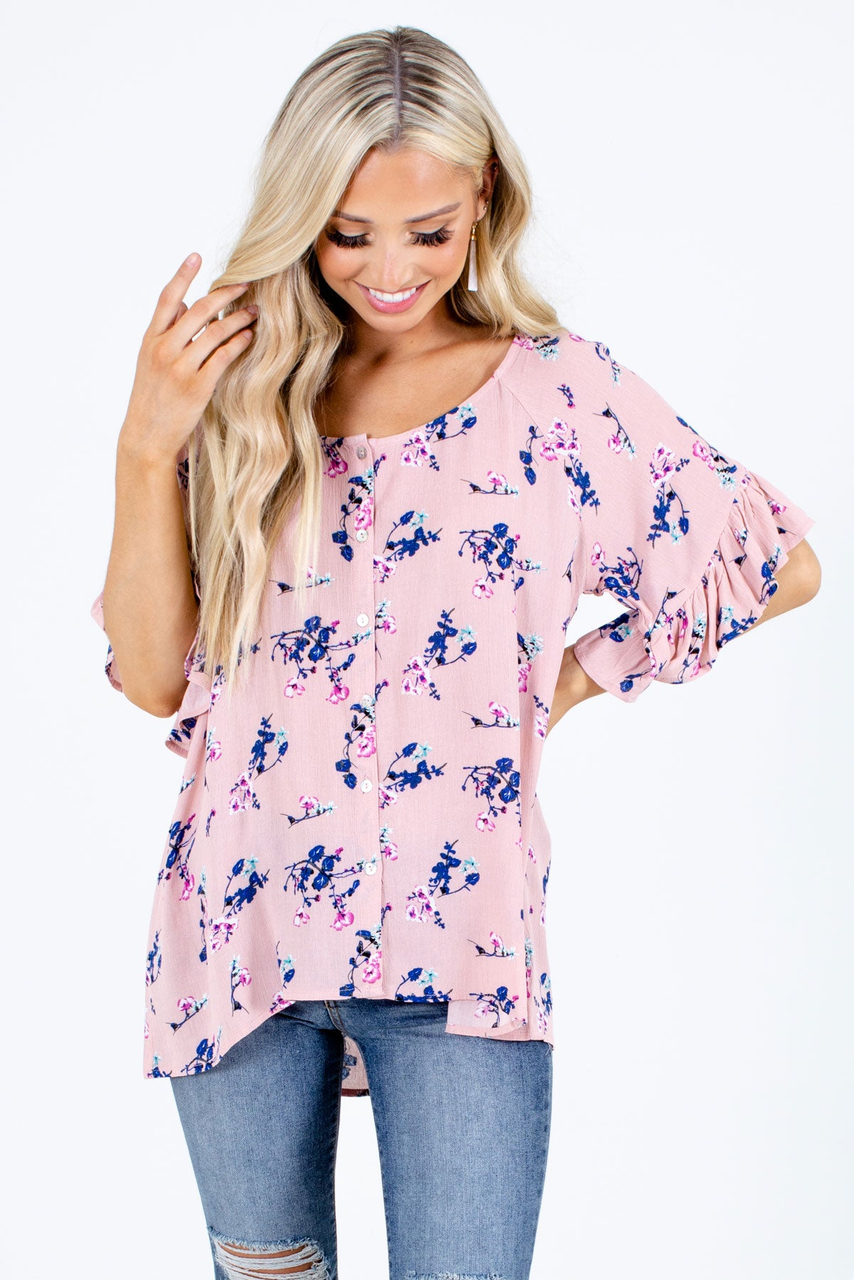 Pink Button-Up Front Boutique Blouses for Women
