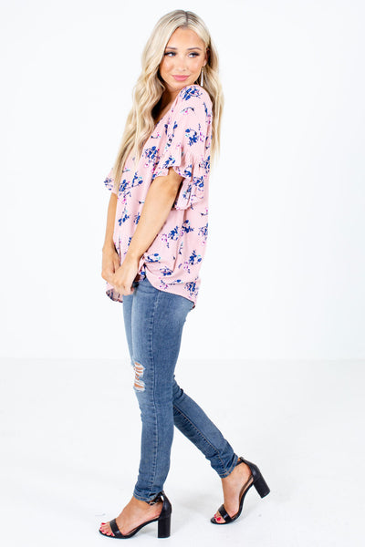 Pink High-Low Hem Boutique Blouses for Women
