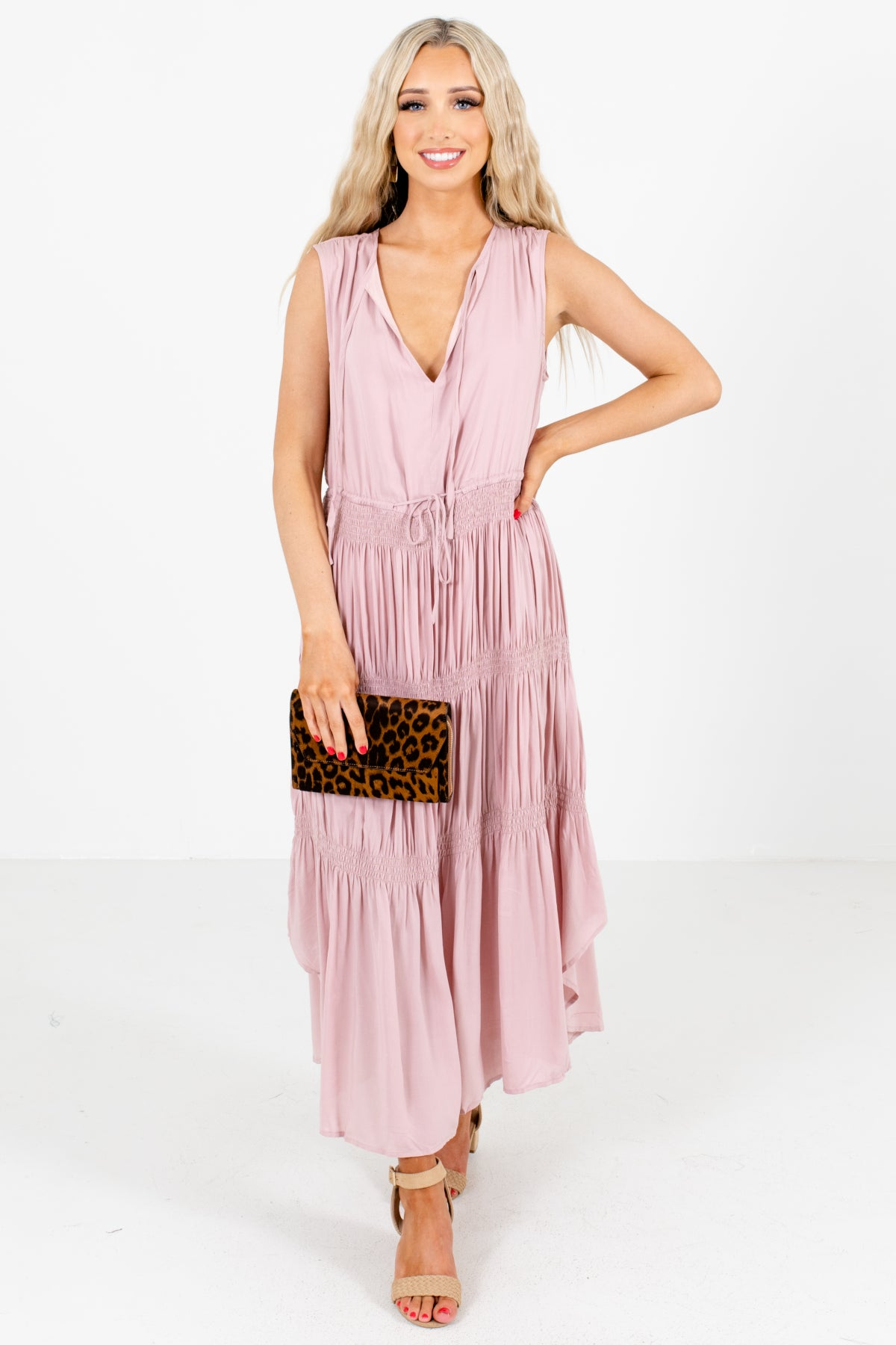 Pink Split V-Neckline Boutique Maxi Dresses for Women