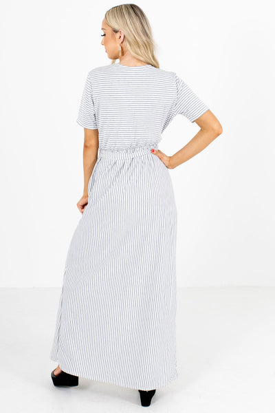 Women's Gray and White Striped Boutique Maxi Dress