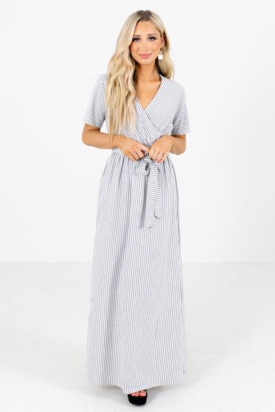 Gray Waist Tie Detailed Boutique Maxi Dresses for Women