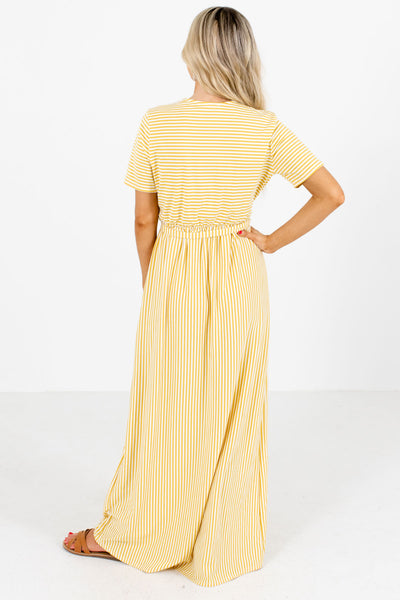Women's Yellow Faux Wrap Style Boutique Maxi Dress
