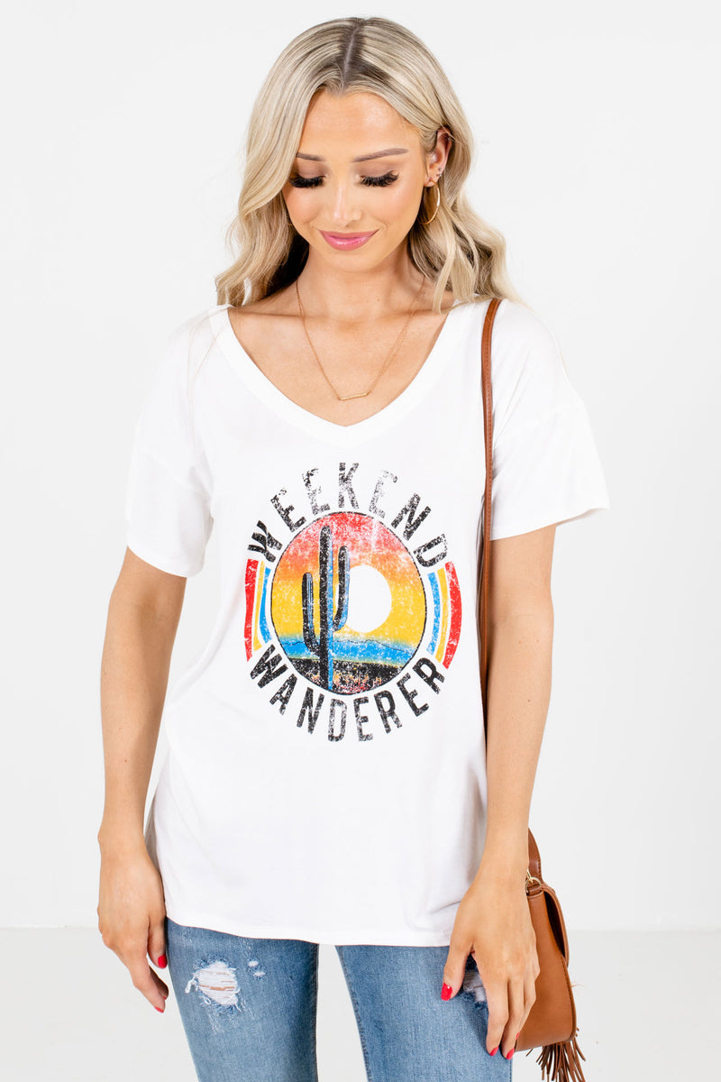 Weekend Wanderer White Graphic Tee