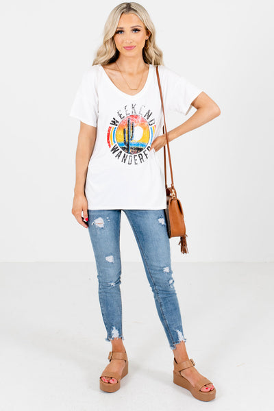 Women's White Casual Everyday Boutique Graphic Tee