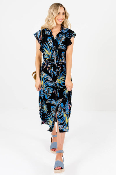 Black Patterned Cute and Comfortable Boutique Midi Dresses for Women
