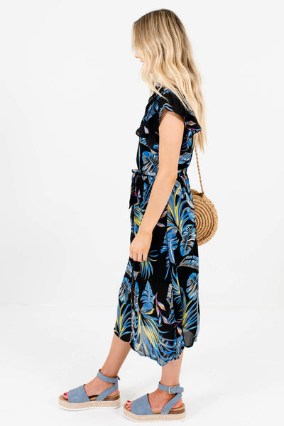 Black Flutter Sleeve Boutique Midi Dresses for Women