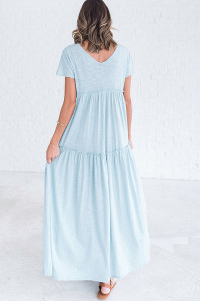 Light Blue Women's Comfortable Dresses