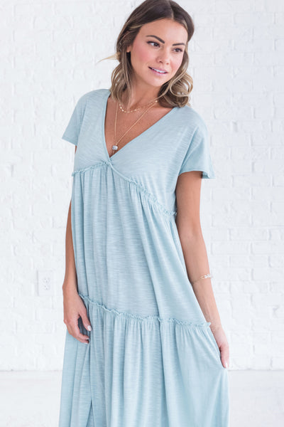 Long Light Blue Women's Dress