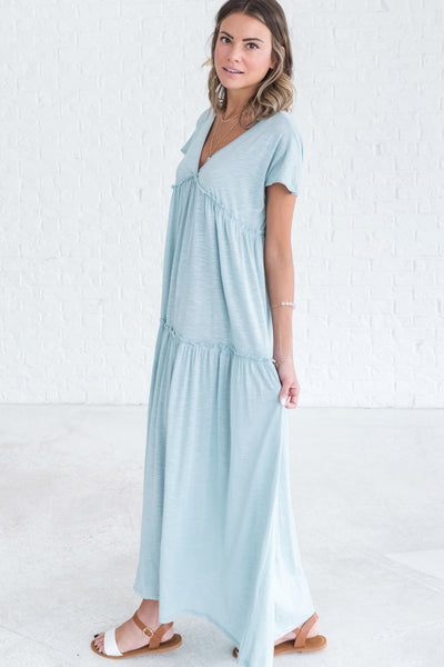 Light Blue Ruffled Women's Dress