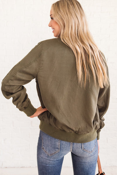 Olive Green Women's Zip-Up Bomber Jacket